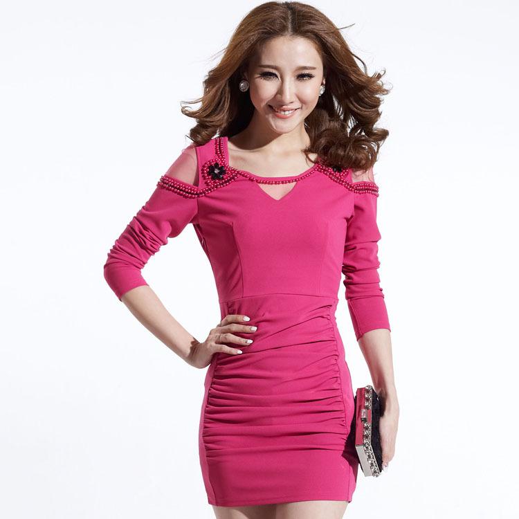 2014秋冬新款女装一件代发韩版钉珠修身长袖连衣裙露肩性感打底裙