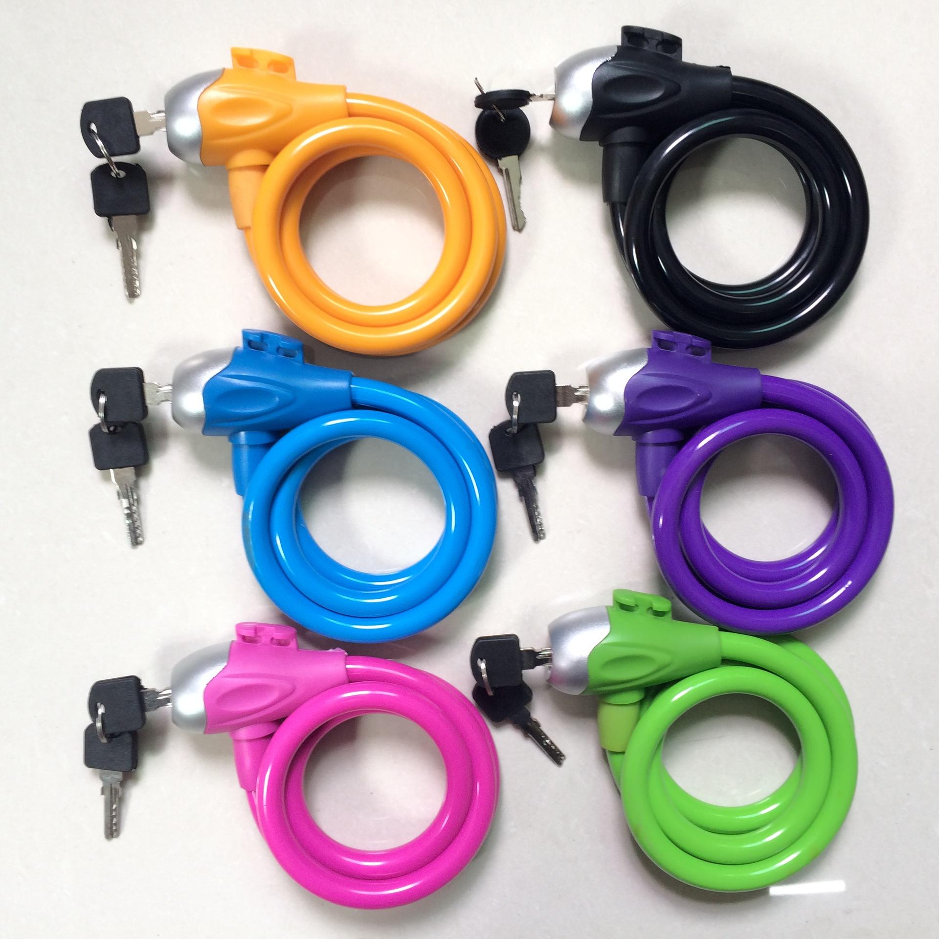 【厂家直销】红金 鱼头形彩色圈形锁 钢缆锁钢丝锁 自行车锁 铜芯