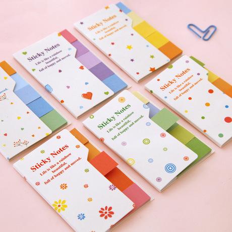 F015 日韩国创意清新可爱彩虹色双面双色N次贴