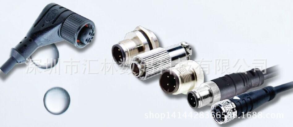 防水连接器M12带线加工公母插头M8/M5线材线束电缆航空插头