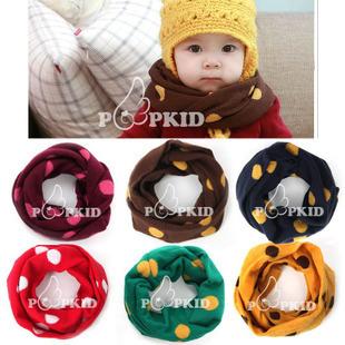 B461 韩版儿童糖果色围脖 圆点可爱围巾儿童围脖 秋冬新款