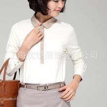 新款韩版女装 春季白领装饰 翻领衬衣 女式衬衫 可加工定制