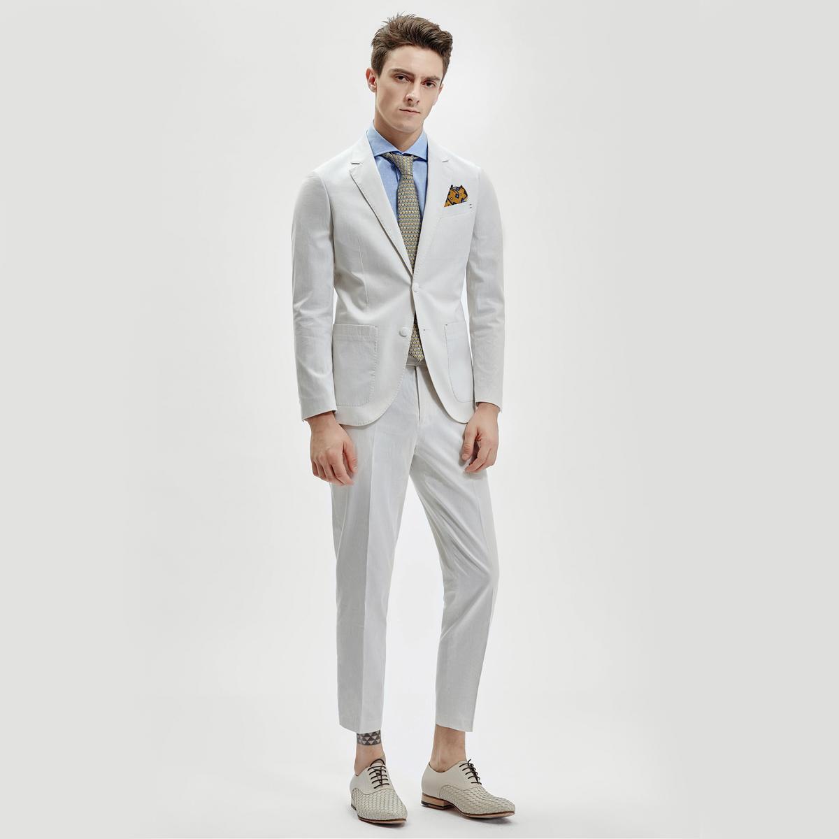 薄款纯棉修身男士西服套装 高端精品商务男装职业套装高端工作服