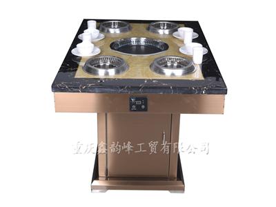 不锈钢金色桌架大理石每人每电磁炉火锅桌