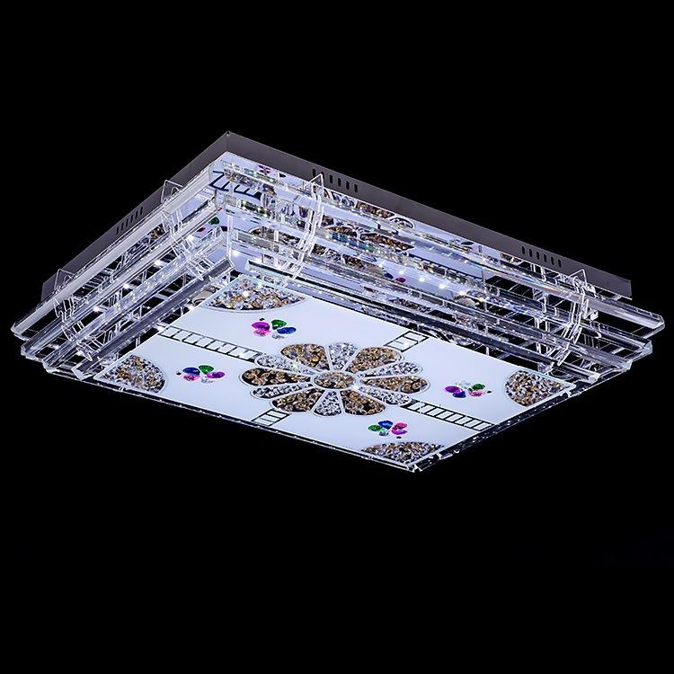 LED水晶吸顶灯客厅卧室餐厅书房平板灯面板灯灯具 方形水晶灯8501
