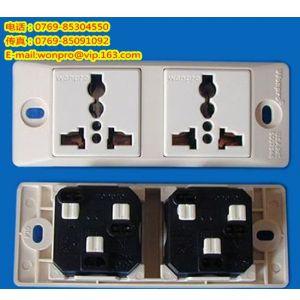 供应插座/流水线插座/稳不落两位万用插座(埋入式)