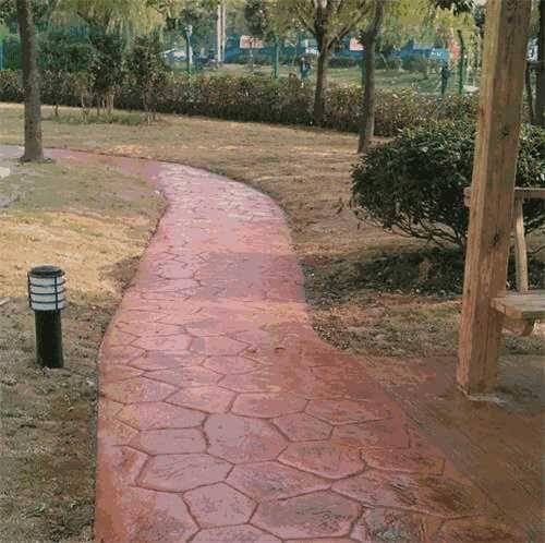 彩色混凝土压模地坪水泥地坪未干施工